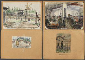 04 300x211 [Lœuvre de la semaine] Le carnet de dessins dun prisonnier au Camp de Nuremberg