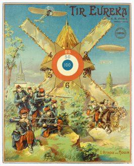 L'attaque du moulin, cible de jeu de tir de la marque Eurêka, début XXe siècle