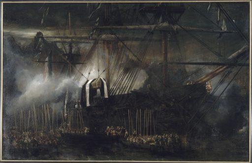 Tableau de l'Embarquement du cercueil de Napoléon à bord de la Belle Poule