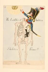 """Caricature britannique de Napoléon : """"Echelle de l'ambition : le squelette de la France"""""""