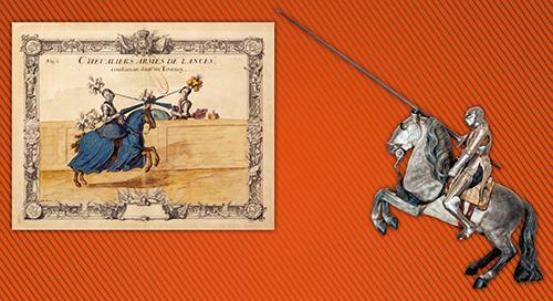 """A gauche : Chevaliers de lances combattant dans un tournoi, A droite : Armure équestre de type """"maximilienne"""""""