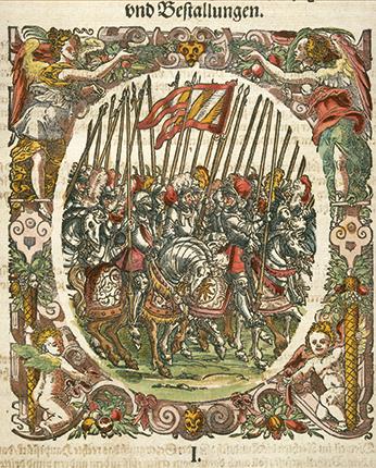 Troupe de cavaliers, gravure coloriée