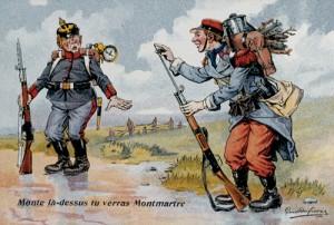 """""""Monte là-dessus tu verras Montmartre"""", carte postale patriotique française de Paul Dufresne"""