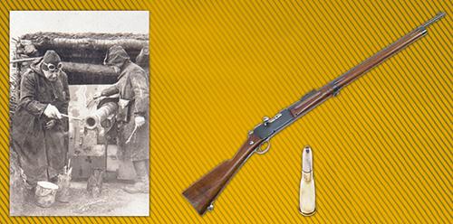 """A gauche : artistes de la section camouflage, à droite : fusil d'infanterie modèle 1886 dit """"Lebel"""""""