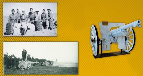 A gauche en haut : Soldats du Bataillon du Pacifique, en bas : Une batterie de canons de 75mm, à droite : canon de campagne de 75mm