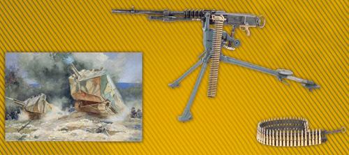 A gauche : attaque d'infanterie et de chars lourds, Saint-Chamond, au centre : Mitrailleuse Hotchkiss, à droite : Bande articulée de cartouches
