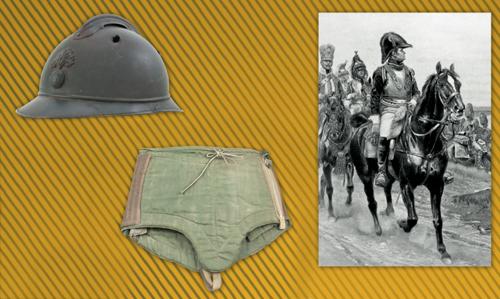 A gauche : casque Adrian modèle 1915 percé au centre : culotte de protection pare-éclats, à droite : Général comte Jean Espagne