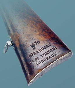 Inscription sur la crosse du fusil d'un volontaire français