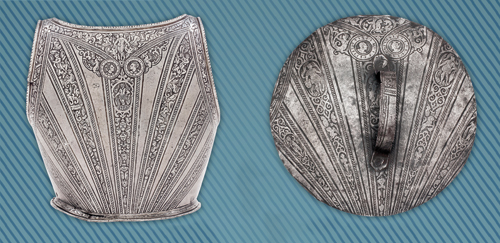 A gauche : dossière de cuirasse vers 1570, à droite : couvercle de marmite découpé dans une dossière italienne