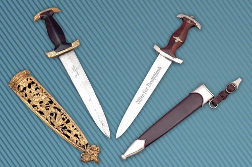 """A gauche : dague suisse dite """"dague Holbein"""", à droite : dague modèle 1933 des SA (Sturmabteilung)"""