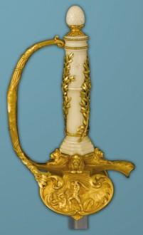 Poignée et garde d'une épée d'honneur offerte au maréchal Foch
