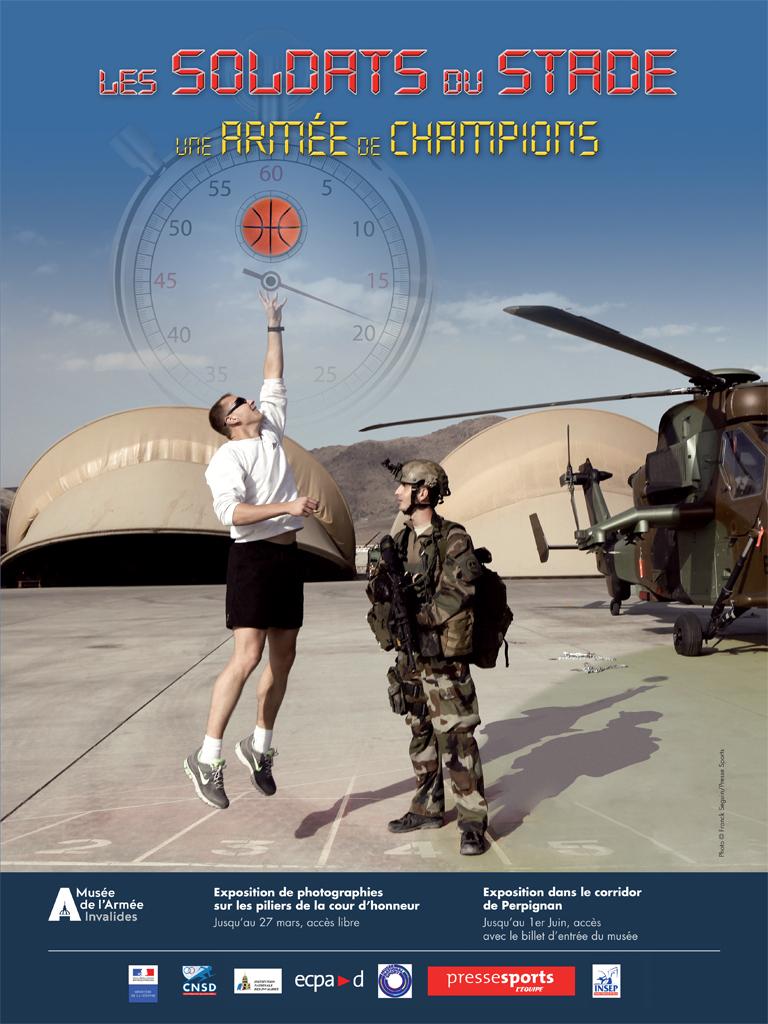 """Affiche exposition : """" Les soldats du stade, une armée de champions ."""""""