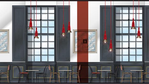 Café restaurant Le carré des Invalides, élévation : bandeau