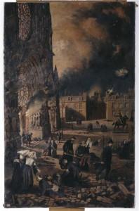 Raymond Fournier-Sarlovèze, La Cathédrale de Reims en flammes, huile sur toile
