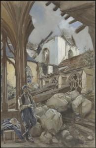 François Flameng, Cloître de la cathédrale de Verdun, 1916, aquarelle sur papier