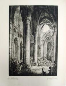 Jacques Carlu, Cathédrale de Soissons, vue intérieure, eau-forte sur papier