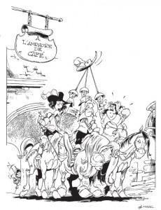 """Illustration « à l'amphore de café » page 22 de """"Câline et Calebasse"""", Cauvin, Mazel © Dupuis, 2014"""