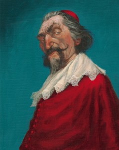 """Illustration page 39 (Portrait du Cardinal Richelieu) """"Les Trois Mousquetaires"""" d'Alexandre Dumas, illustré par Christel Espié © 2013, Editions Sarbacane"""