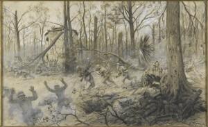 """Georges Scott : """"Attaque des Marines américains à Bois Belleau en 1918"""" © Paris - Musée de l'Armée, Dist. RMN-Grand Palais / Emilie Cambier"""