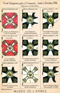 Carte postale des neufs drapeaux pris à l'ennemi © image du musée de l'Armée