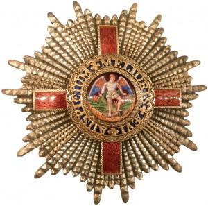 Order of Saint Michael : Saint Michel, casqué et armé d'un glaive, terrasse le Diable entouré des flammes de l'enfer et affublé d'ailes vertes