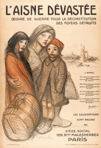 L'Aisne Dévastée, œuvre de guerre pour la reconstruction des foyers détruits. Affiche signée Théophile-Alexandre Steinlen (1859-1923). © Paris, musée de l'Armée dist. RMN-GP