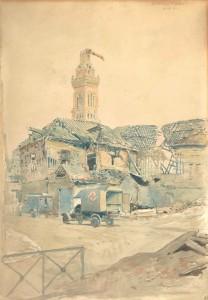 La basilique d'Albert, 28 septembre 1916 par Georges Scott (1873-1942). © Paris, musée de l'Armée dist. RMN-GP