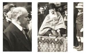 Détails de la photographie de la cérémonie de bénédiction d'ambulances du 15 septembre 1916, avec le président Poincaré, un pope et un enfant qui regarde le photographe © Paris, musée de l'Armée dist. RMN-GP