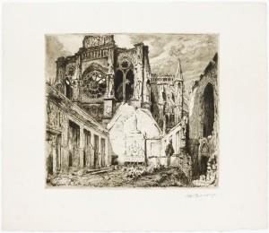 Paul-Adrien Bourroux, Reims. La salle des Rois. Octobre 1917, eau-forte sur papier © Paris - Musée de l'Armée, Dist. RMN-GP / Emilie Cambier