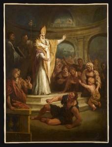 Saint Ambroise guérit un possédé, par Bon Boullogne,  l'Aîné (1649-1717)