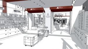 Perspective de la future boutique du musée