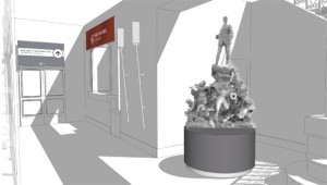 Perspective du futur vestiaire / bagagerie du musée