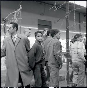 """Opération """"Cisailles"""" à Oran : après le retrait des barbelés séparant la ville arabe de la ville européenne, on peut désormais circuler librement entre les quartiers, 24 novembre 1957 © ECPAD / Marc Flandrois"""