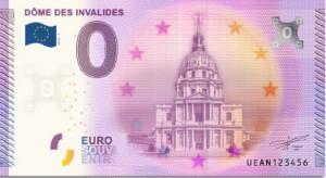 Billet 0 €uro souvenir : église du Dôme