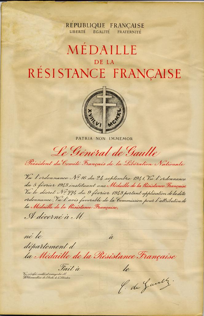 Dans L Honneur Et Par La Victoire Episode 2 La Medaille De La Resistance Francaise Actualites Du Musee De L Armee