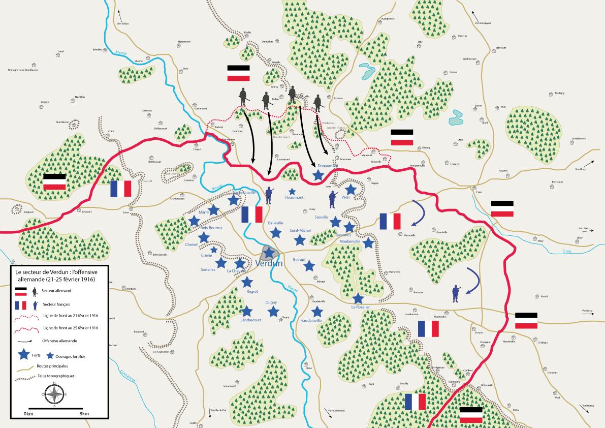 """carte de la bataille de verdun The """"hyperbataille"""" of Verdun, third episode : the german"""