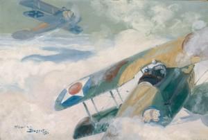 Combat d'avion par Maurice Busset (1880-1936), huile sur carton, 1918. © Paris, musée de l'Armée dist. RMN-GP image musée de l'Armée