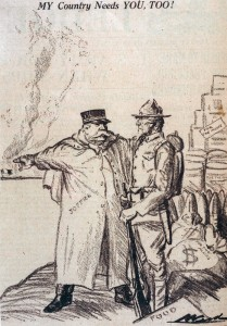 Dessin paru dans la presse américaine en 1917. © Paris, musée de l'Armée, dist. RMN-GP