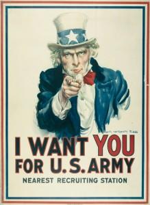 Affiche de recrutement par James Montgomery Flagg, 1918 © Paris, musée de l'Armée, dist. RMN-GP Émilie Cambier