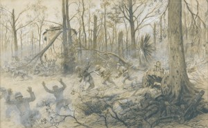 The United States Marines at Belleau Wood in 1918 by Georges Bertin Scott. © Paris, musée de l'Armée, dist. RMN-GP Émilie Cambier