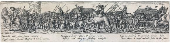 Gravure sur papier de Théodore de Bry (1561-1623) intitulée Procession réalisée vers 1580-1600 d'après Hans Sebald Beham (1500-1550). De nombreux animaux ont longtemps été intégrés aux troupes en campagne. Une troupe de combattants, vêtus à la mode du XVIe siècle, se déplace avec armes et bagages et plusieurs animaux font partie du cortège : pour le transport, des chevaux de guerre et des chevaux de bât ; pour la guerre, la chasse, la garde et la compagnie, deux chiens, dont l'un porte un collier hérissé de piques. Pour l'exotisme et comme prise de guerre, le dromadaire qui rappelle que les prisonniers sont des orientaux de type ottoman ; pour la nourriture, quatre poules, deux coqs, une oie et un sanglier ; enfin, pour l'allégorie la mort ailée ferme le cortège, montée sur un vieux cheval.