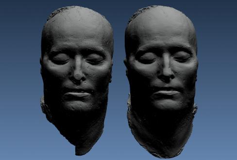 Modélisation 3D comparée de deux exemplaires de masques mortuaires